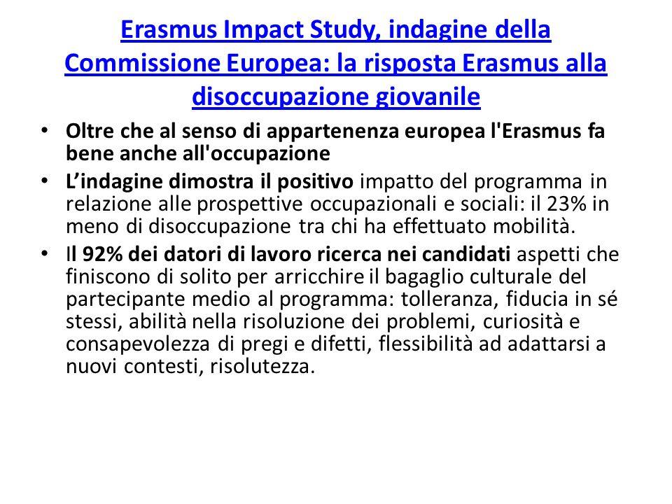 Erasmus Impact Study, indagine della Commissione Europea: la risposta Erasmus alla disoccupazione giovanile Oltre che al senso di appartenenza europea