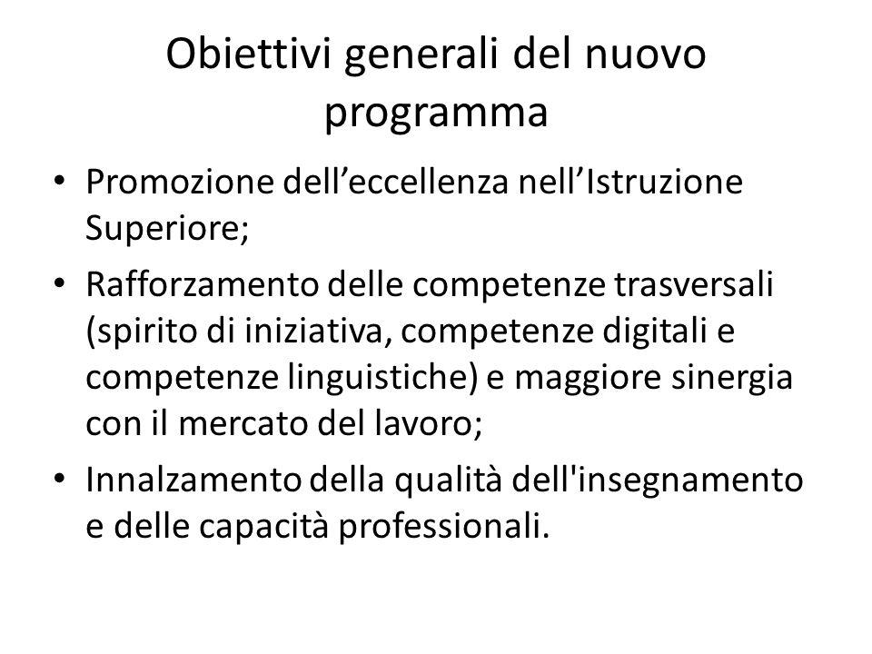 Obiettivi generali del nuovo programma Promozione dell'eccellenza nell'Istruzione Superiore; Rafforzamento delle competenze trasversali (spirito di in