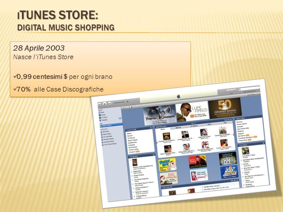 I TUNES STORE: DIGITAL MUSIC SHOPPING 28 Aprile 2003 Nasce l'iTunes Store 0,99 centesimi $ per ogni brano 70% alle Case Discografiche 28 Aprile 2003 Nasce l'iTunes Store 0,99 centesimi $ per ogni brano 70% alle Case Discografiche