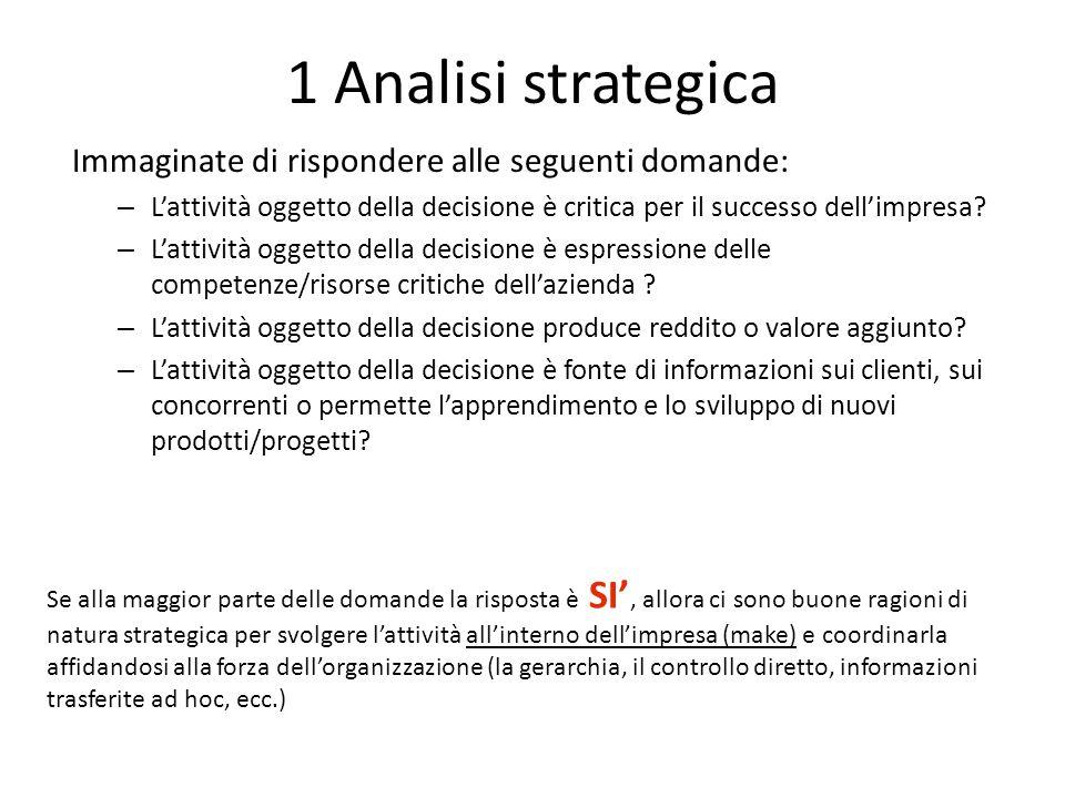 1 Analisi strategica Immaginate di rispondere alle seguenti domande: – L'attività oggetto della decisione è critica per il successo dell'impresa.