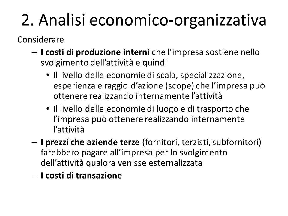 2. Analisi economico-organizzativa Considerare – I costi di produzione interni che l'impresa sostiene nello svolgimento dell'attività e quindi Il live