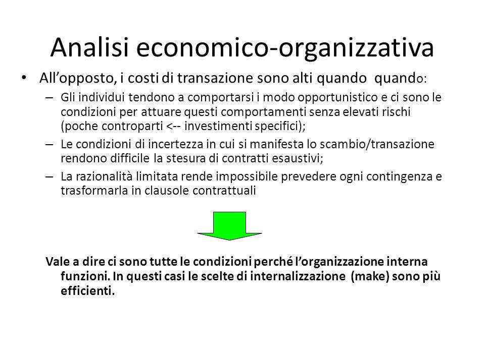 Analisi economico-organizzativa All'opposto, i costi di transazione sono alti quando quand o: – Gli individui tendono a comportarsi i modo opportunistico e ci sono le condizioni per attuare questi comportamenti senza elevati rischi (poche controparti <-- investimenti specifici); – Le condizioni di incertezza in cui si manifesta lo scambio/transazione rendono difficile la stesura di contratti esaustivi; – La razionalità limitata rende impossibile prevedere ogni contingenza e trasformarla in clausole contrattuali Vale a dire ci sono tutte le condizioni perché l'organizzazione interna funzioni.