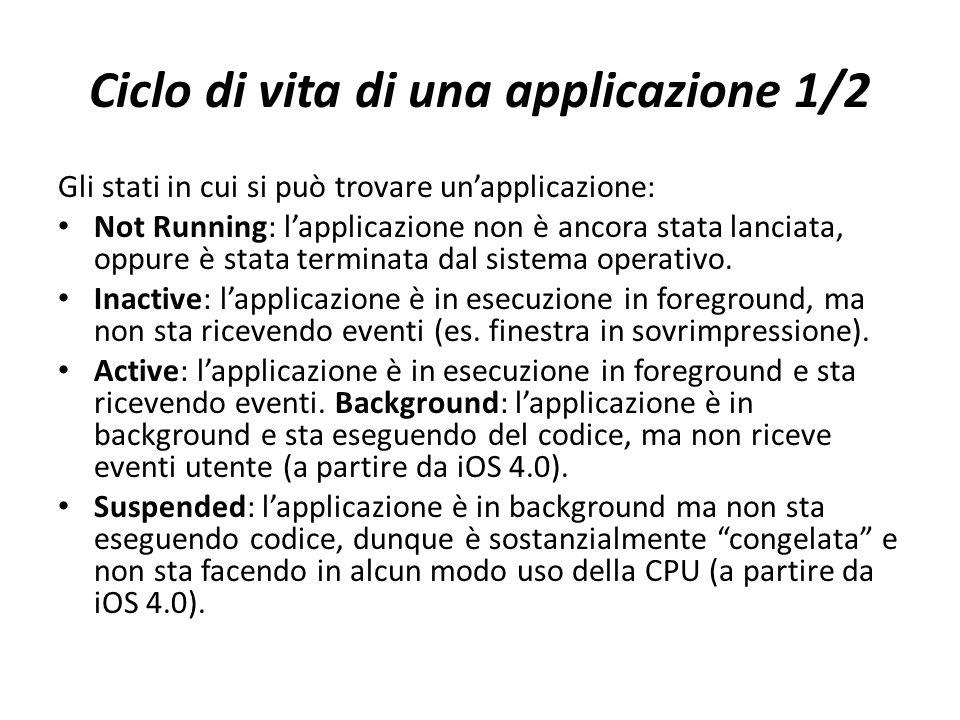 Ciclo di vita di una applicazione 1/2 Gli stati in cui si può trovare un'applicazione: Not Running: l'applicazione non è ancora stata lanciata, oppure è stata terminata dal sistema operativo.