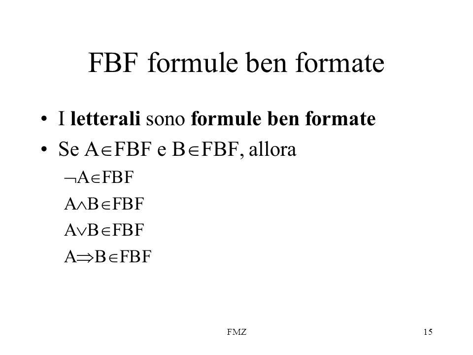 FMZ15 FBF formule ben formate I letterali sono formule ben formate Se A  FBF e B  FBF, allora  A  FBF A  B  FBF A  B  FBF A  B  FBF