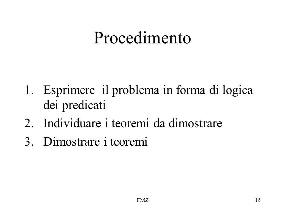 FMZ18 Procedimento 1.Esprimere il problema in forma di logica dei predicati 2.Individuare i teoremi da dimostrare 3.Dimostrare i teoremi