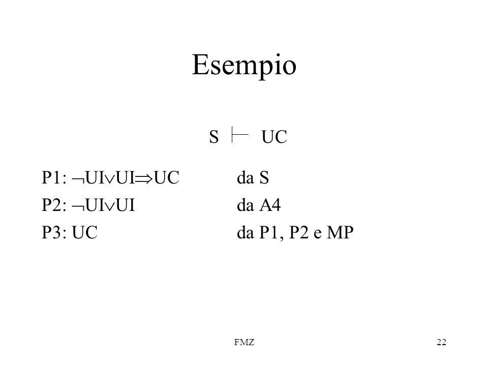 FMZ22 Esempio P1:  UI  UI  UCda S P2:  UI  UIda A4 P3: UCda P1, P2 e MP SUC