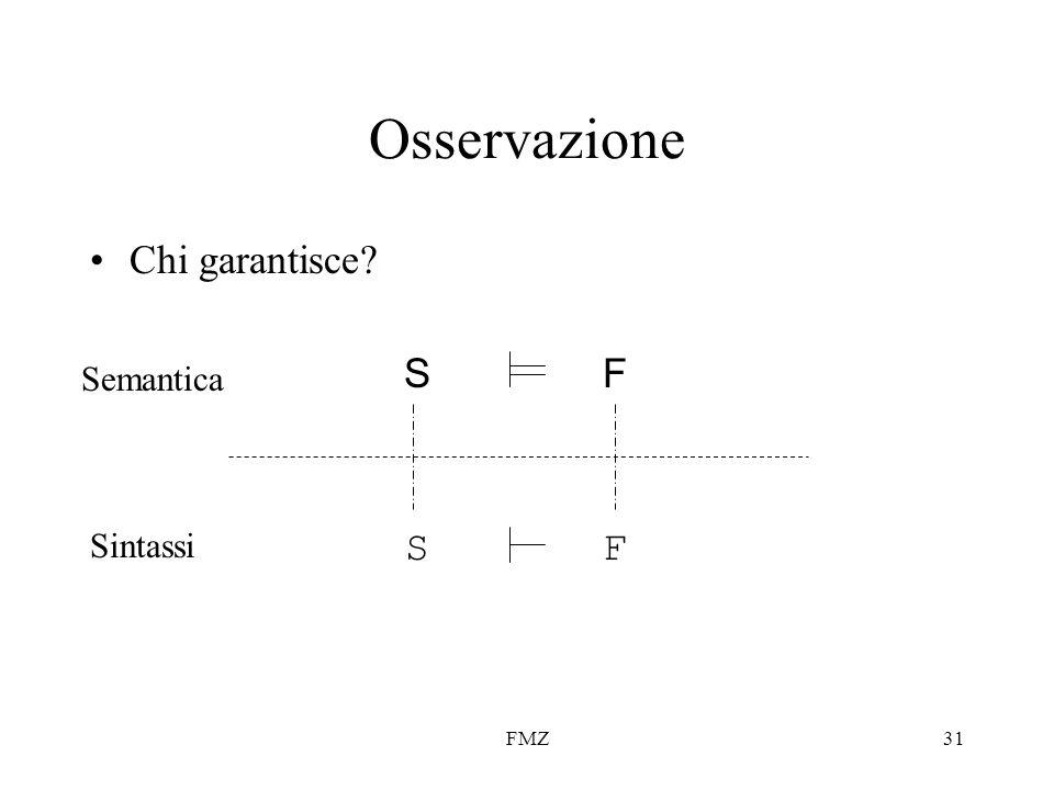 FMZ31 Osservazione SF SF Semantica Sintassi Chi garantisce?