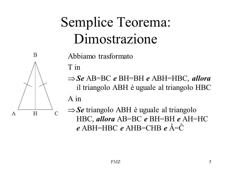 FMZ5 Semplice Teorema: Dimostrazione Abbiamo trasformato T in  Se AB=BC e BH=BH e ABH=HBC, allora il triangolo ABH è uguale al triangolo HBC A in  S