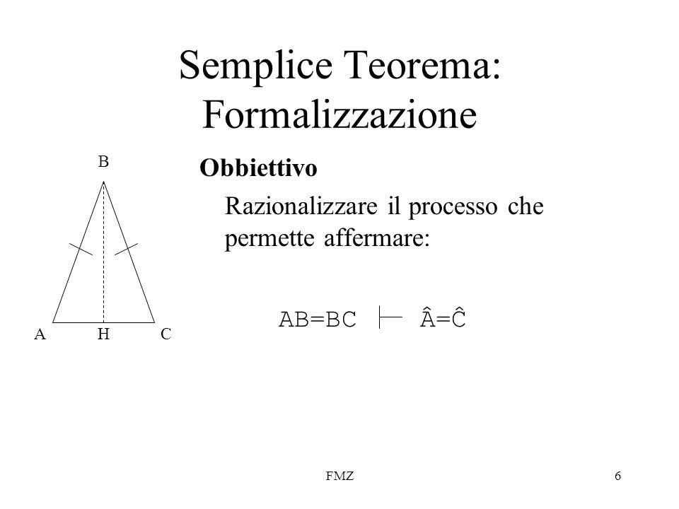 FMZ6 Semplice Teorema: Formalizzazione Obbiettivo Razionalizzare il processo che permette affermare: AC B H AB=BCÂ=ĈÂ=Ĉ
