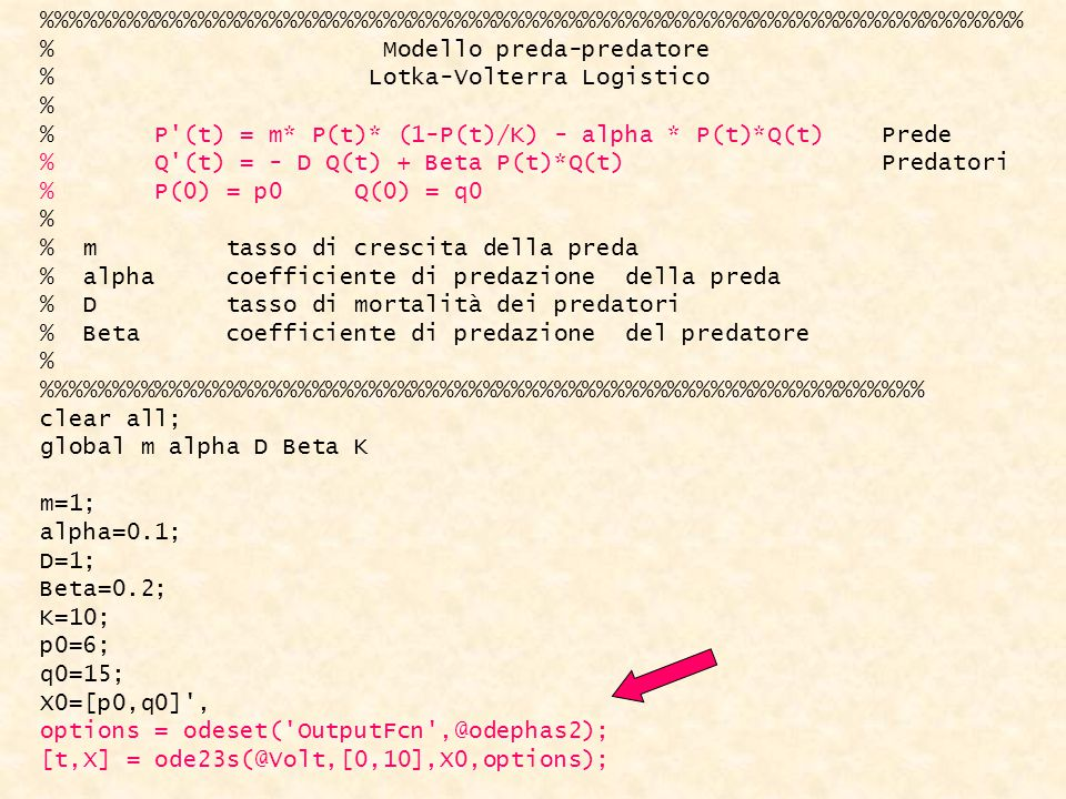 %%%%%%%%%%%%%%%%%%%%%%%%%%%%%%%%%%% % Modello preda-predatore % Lotka-Volterra Logistico % % P (t) = m* P(t)* (1-P(t)/K) - alpha * P(t)*Q(t) Prede % Q (t) = - D Q(t) + Beta P(t)*Q(t) Predatori % P(0) = p0 Q(0) = q0 % % m tasso di crescita della preda % alpha coefficiente di predazione della preda % D tasso di mortalità dei predatori % Beta coefficiente di predazione del predatore % %%%%%%%%%%%%%%%%%%%%%%%%%%%%%%% clear all; global m alpha D Beta K m=1; alpha=0.1; D=1; Beta=0.2; K=10; p0=6; q0=15; X0=[p0,q0] , options = odeset( OutputFcn ,@odephas2); [t,X] = ode23s(@Volt,[0,10],X0,options);