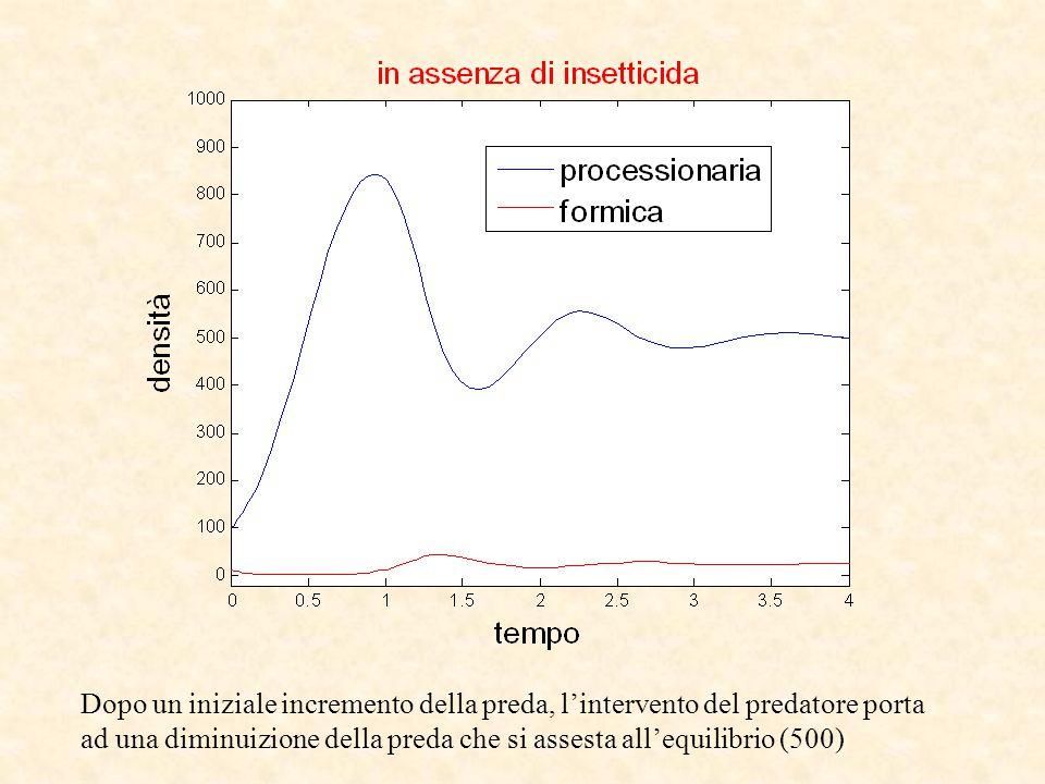 Dopo un iniziale incremento della preda, l'intervento del predatore porta ad una diminuizione della preda che si assesta all'equilibrio (500)