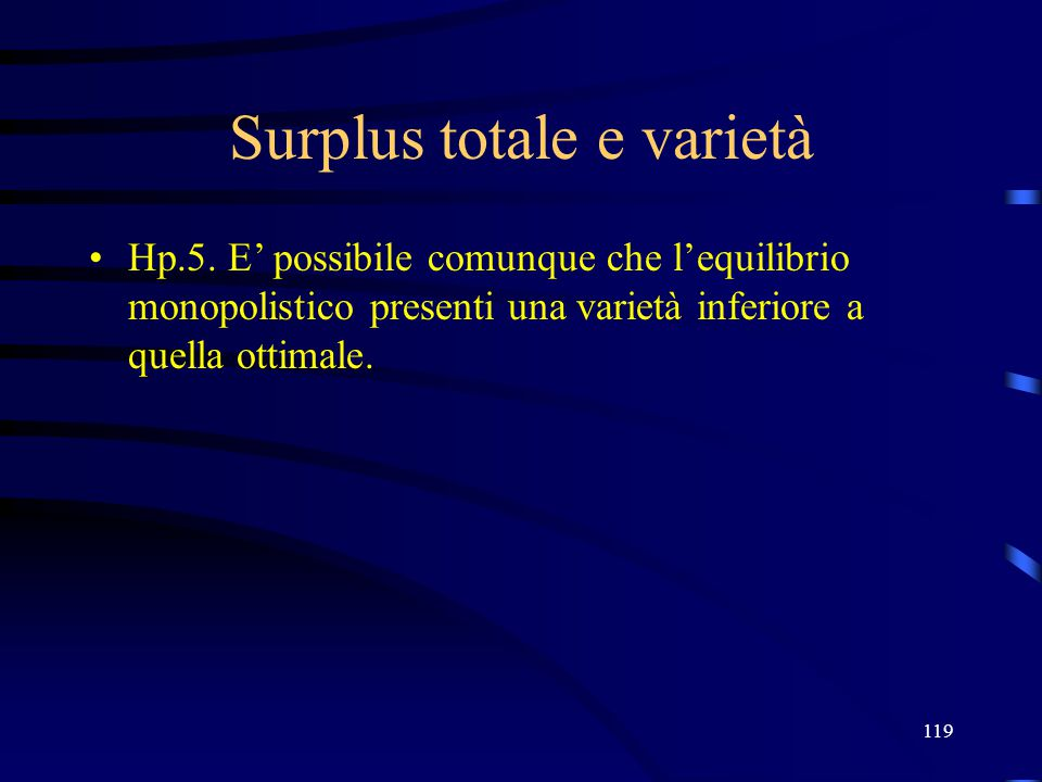 119 Surplus totale e varietà Hp.5.