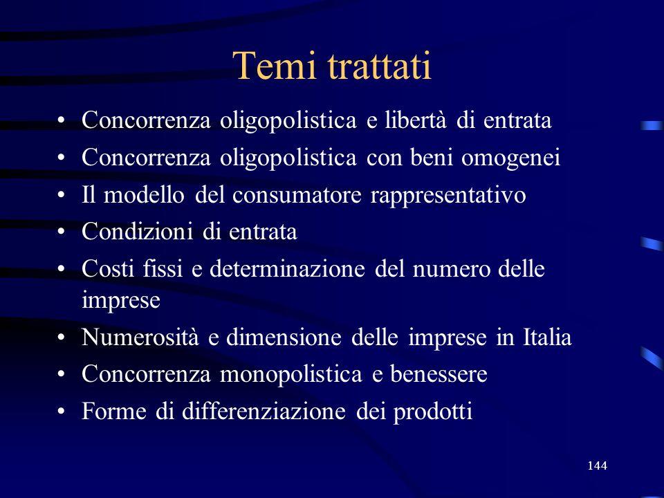144 Temi trattati Concorrenza oligopolistica e libertà di entrata Concorrenza oligopolistica con beni omogenei Il modello del consumatore rappresentat