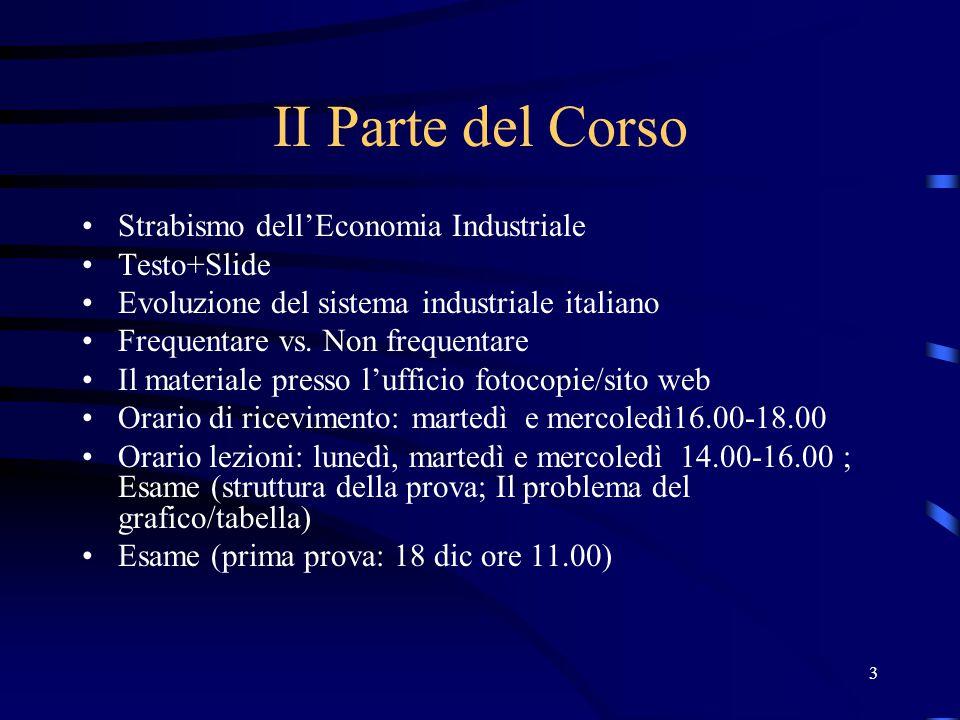 3 II Parte del Corso Strabismo dell'Economia Industriale Testo+Slide Evoluzione del sistema industriale italiano Frequentare vs. Non frequentare Il ma