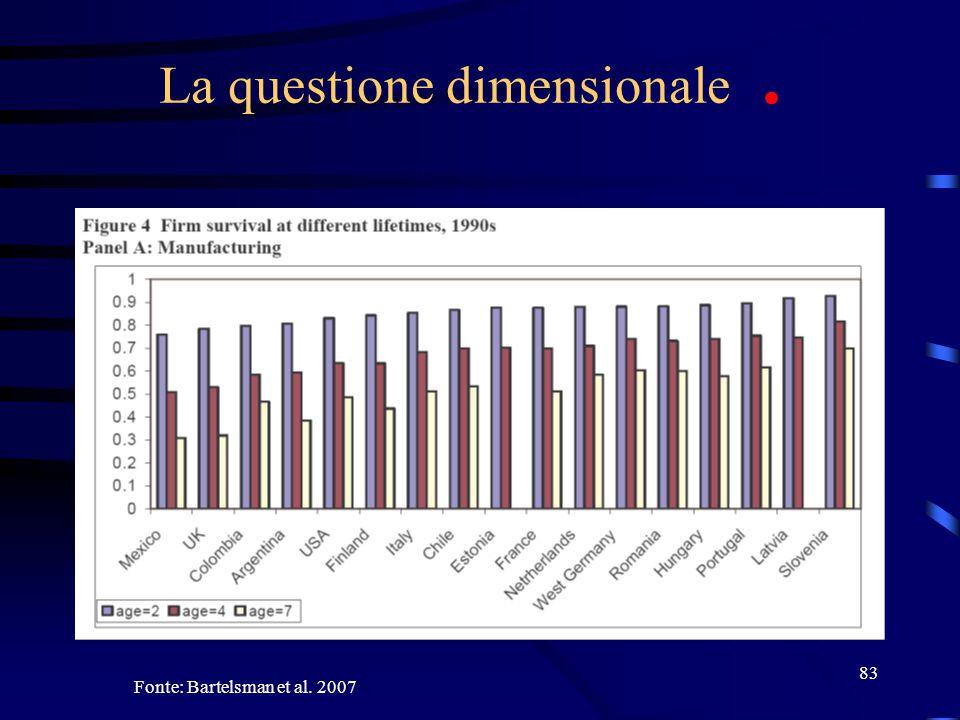 83 La questione dimensionale. Fonte: Bartelsman et al. 2007