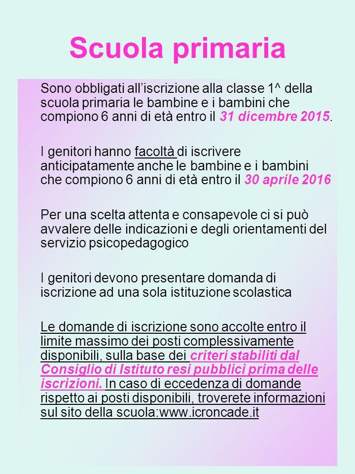 Scuola primaria Sono obbligati all'iscrizione alla classe 1^ della scuola primaria le bambine e i bambini che compiono 6 anni di età entro il 31 dicembre 2015.