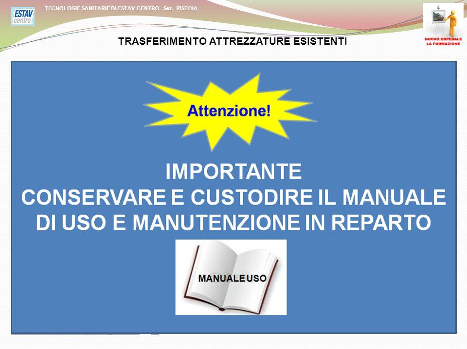 MANUALE DI USO E MANUTENZIONE TECNOLOGIE SANITARIE DI ESTAV-CENTRO –Sez.