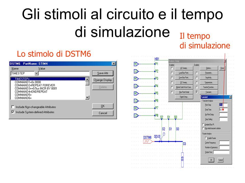 Gli stimoli al circuito e il tempo di simulazione Lo stimolo di DSTM6 Il tempo di simulazione