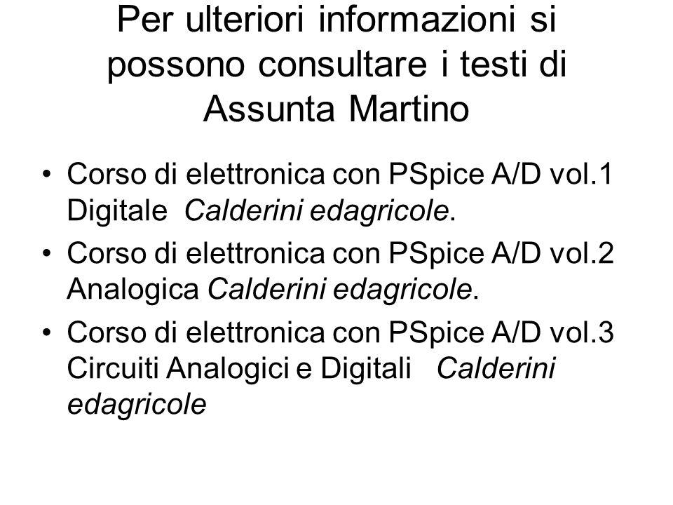 Per ulteriori informazioni si possono consultare i testi di Assunta Martino Corso di elettronica con PSpice A/D vol.1 Digitale Calderini edagricole. C