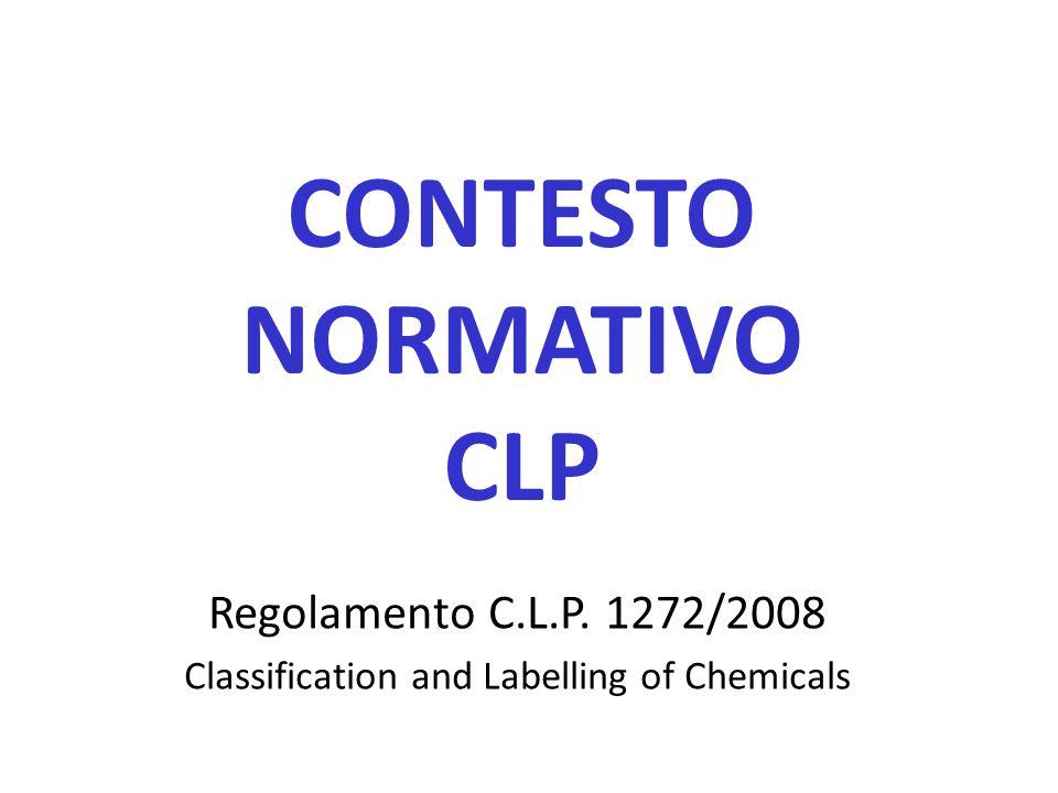 CONTESTO NORMATIVO CLP Regolamento C.L.P. 1272/2008 Classification and Labelling of Chemicals