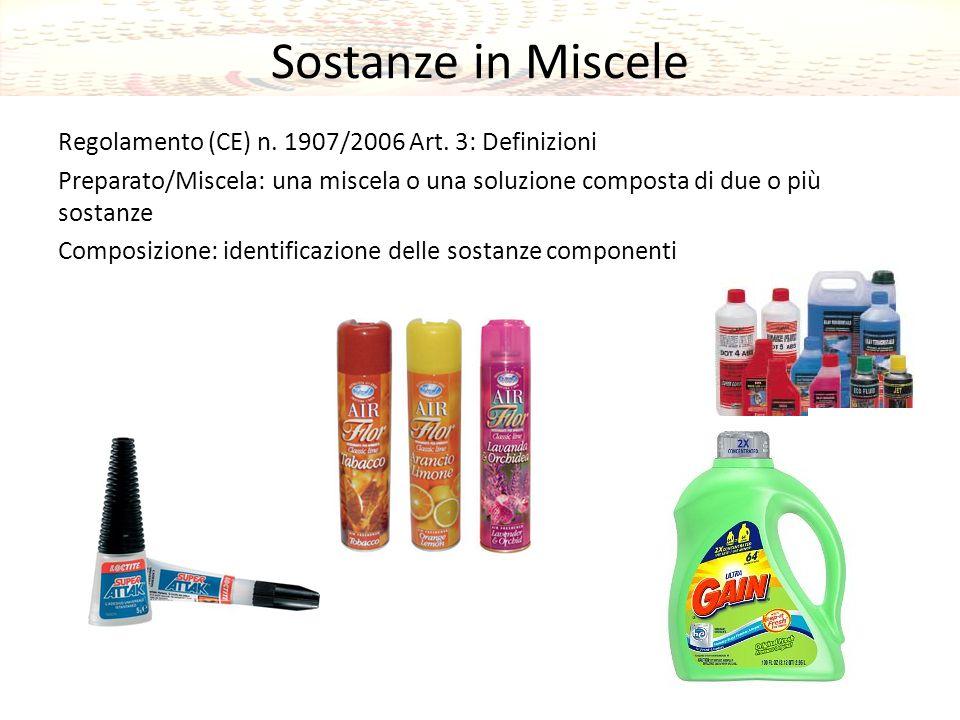 Sostanze in Miscele Regolamento (CE) n.1907/2006 Art.