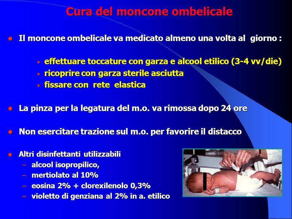 Cura del moncone ombelicale Cura del moncone ombelicale Il moncone ombelicale va medicato almeno una volta al giorno : Il moncone ombelicale va medica