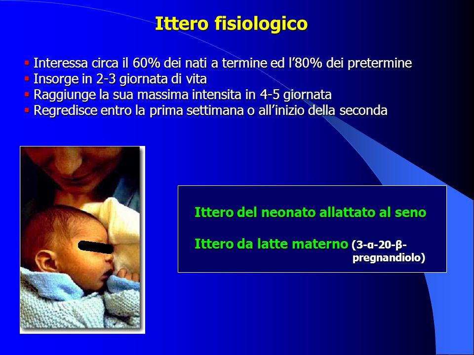 Ittero fisiologico  Interessa circa il 60% dei nati a termine ed l'80% dei pretermine  Insorge in 2-3 giornata di vita  Raggiunge la sua massima intensita in 4-5 giornata  Regredisce entro la prima settimana o all'inizio della seconda Ittero del neonato allattato al seno Ittero da latte materno (3-α-20-β- pregnandiolo)