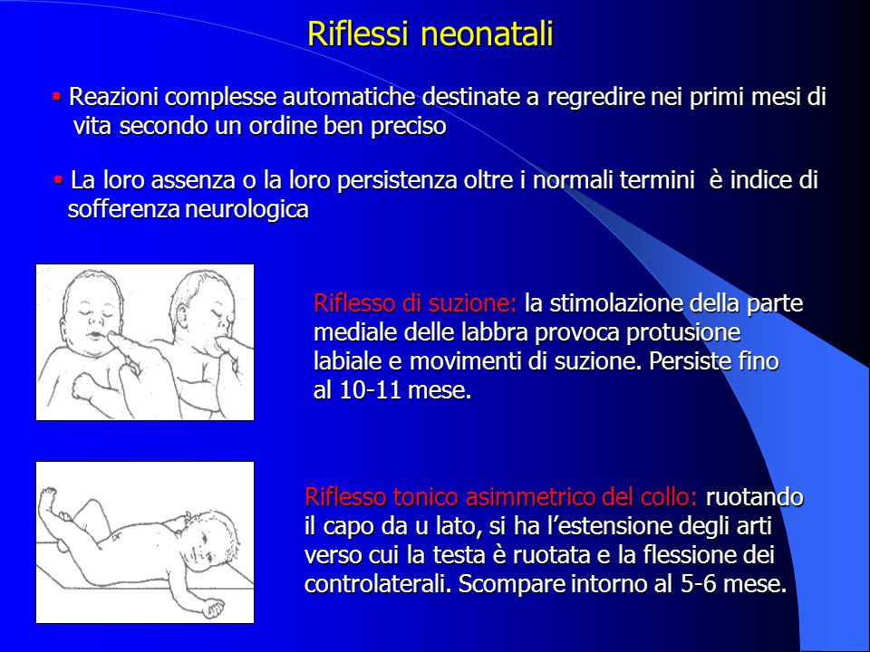 Riflesso di suzione: la stimolazione della parte mediale delle labbra provoca protusione labiale e movimenti di suzione.