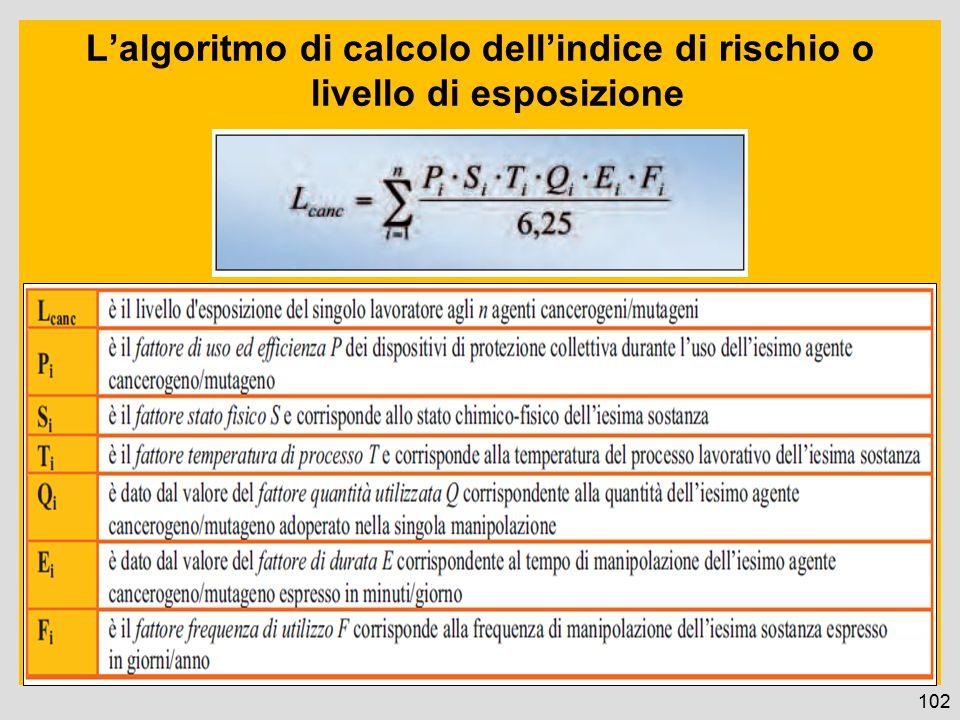 L'algoritmo di calcolo dell'indice di rischio o livello di esposizione 102