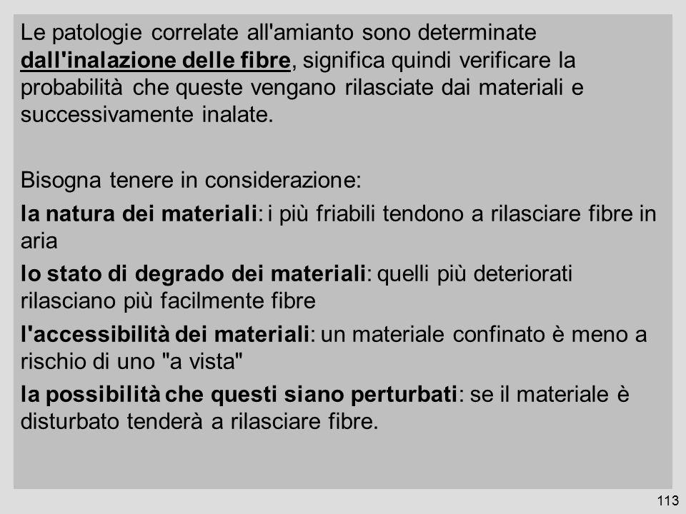 113 Le patologie correlate all amianto sono determinate dall inalazione delle fibre, significa quindi verificare la probabilità che queste vengano rilasciate dai materiali e successivamente inalate.