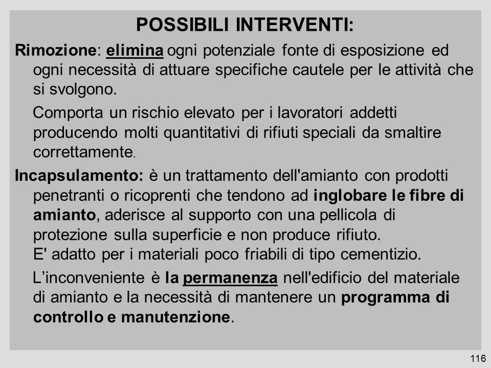 POSSIBILI INTERVENTI: Rimozione: elimina ogni potenziale fonte di esposizione ed ogni necessità di attuare specifiche cautele per le attività che si svolgono.
