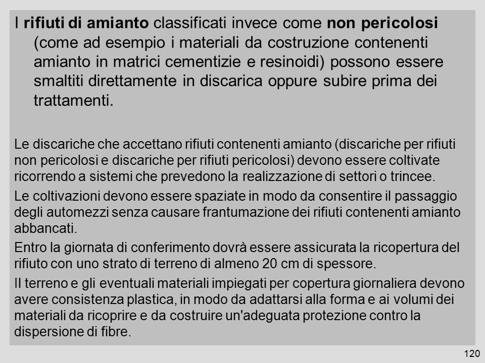 I rifiuti di amianto classificati invece come non pericolosi (come ad esempio i materiali da costruzione contenenti amianto in matrici cementizie e re