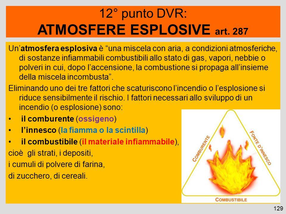 129 Un'atmosfera esplosiva è una miscela con aria, a condizioni atmosferiche, di sostanze infiammabili combustibili allo stato di gas, vapori, nebbie o polveri in cui, dopo l'accensione, la combustione si propaga all'insieme della miscela incombusta .