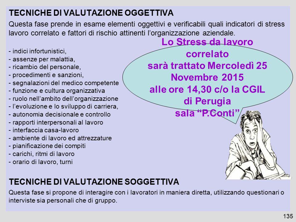135 TECNICHE DI VALUTAZIONE OGGETTIVA Questa fase prende in esame elementi oggettivi e verificabili quali indicatori di stress lavoro correlato e fatt