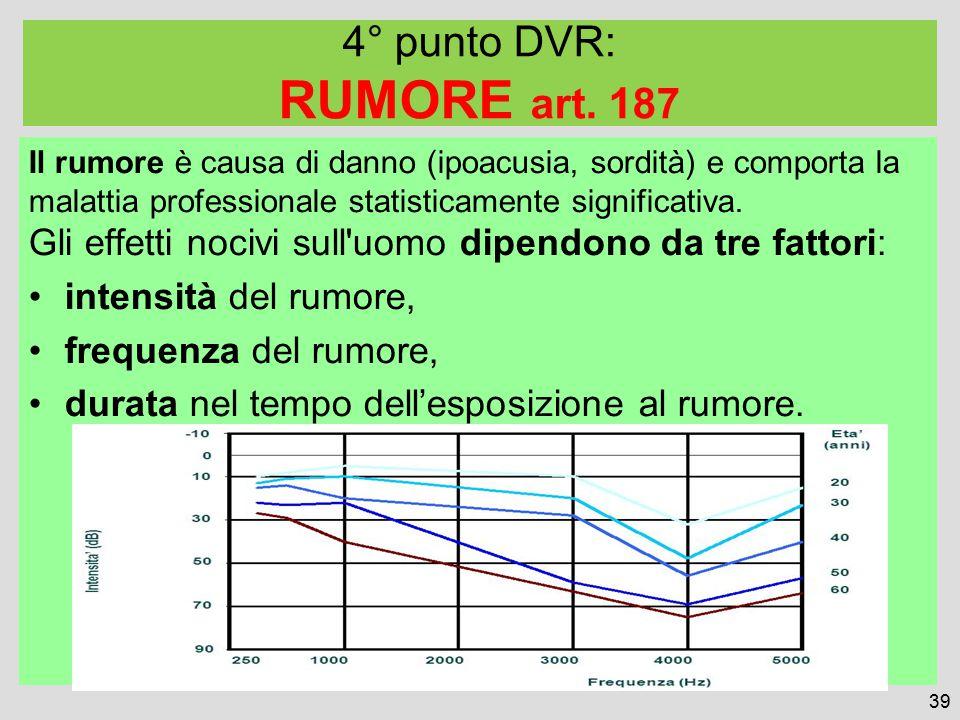 Il rumore è causa di danno (ipoacusia, sordità) e comporta la malattia professionale statisticamente significativa.