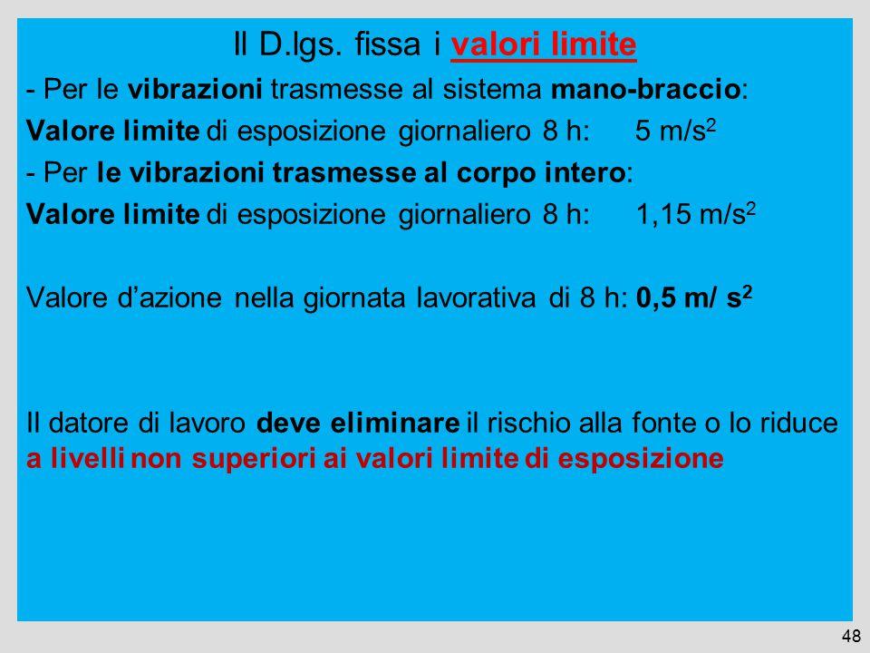 Il D.lgs. fissa i valori limite - Per le vibrazioni trasmesse al sistema mano-braccio: Valore limite di esposizione giornaliero 8 h:5 m/s 2 - Per le v
