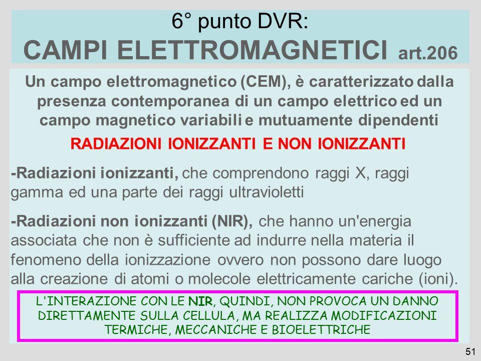 Un campo elettromagnetico (CEM), è caratterizzato dalla presenza contemporanea di un campo elettrico ed un campo magnetico variabili e mutuamente dipendenti 51 6° punto DVR: CAMPI ELETTROMAGNETICI art.206 RADIAZIONI IONIZZANTI E NON IONIZZANTI -Radiazioni ionizzanti, che comprendono raggi X, raggi gamma ed una parte dei raggi ultravioletti -Radiazioni non ionizzanti (NIR), che hanno un energia associata che non è sufficiente ad indurre nella materia il fenomeno della ionizzazione ovvero non possono dare luogo alla creazione di atomi o molecole elettricamente cariche (ioni).