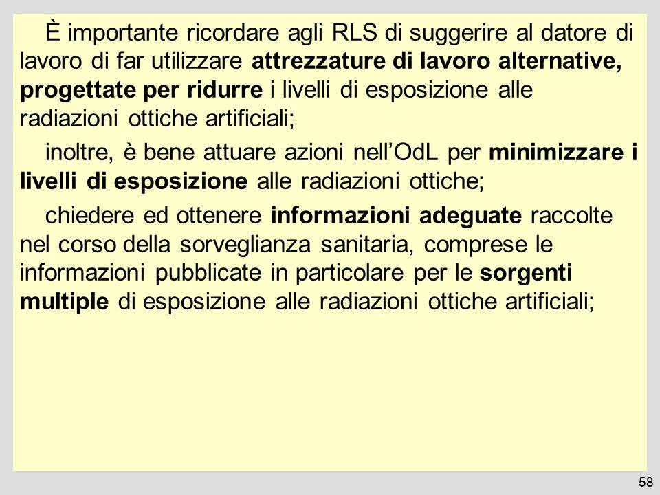È importante ricordare agli RLS di suggerire al datore di lavoro di far utilizzare attrezzature di lavoro alternative, progettate per ridurre i livell
