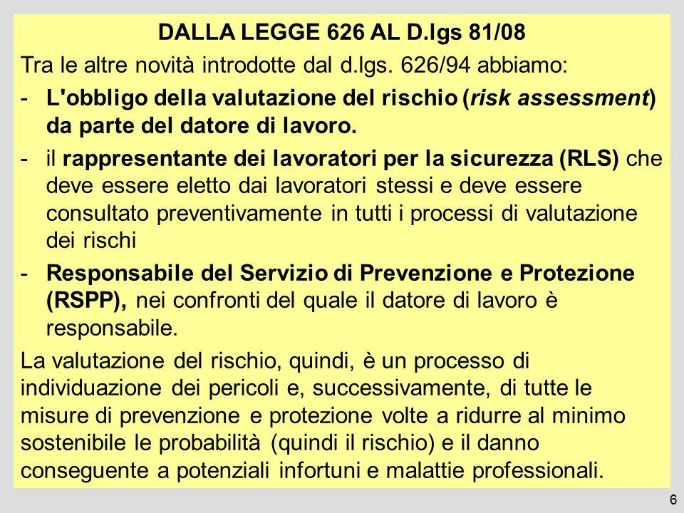 6 DALLA LEGGE 626 AL D.lgs 81/08 Tra le altre novità introdotte dal d.lgs. 626/94 abbiamo: -L'obbligo della valutazione del rischio (risk assessment)