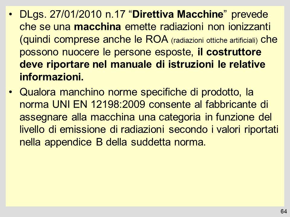 """DLgs. 27/01/2010 n.17 """"Direttiva Macchine"""" prevede che se una macchina emette radiazioni non ionizzanti (quindi comprese anche le ROA (radiazioni otti"""