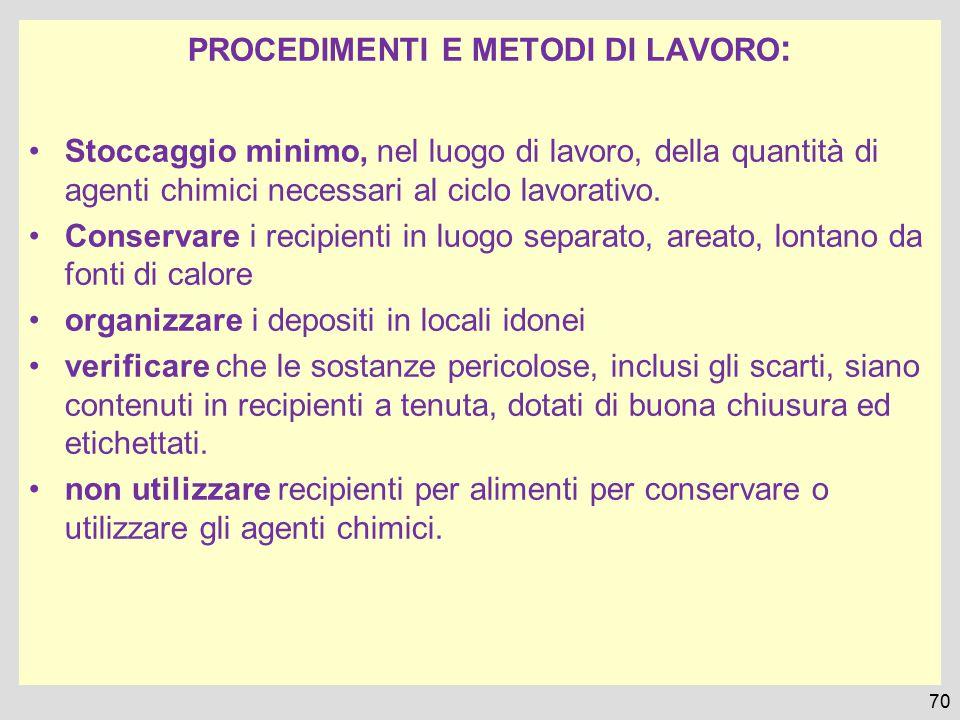 PROCEDIMENTI E METODI DI LAVORO : Stoccaggio minimo, nel luogo di lavoro, della quantità di agenti chimici necessari al ciclo lavorativo. Conservare i