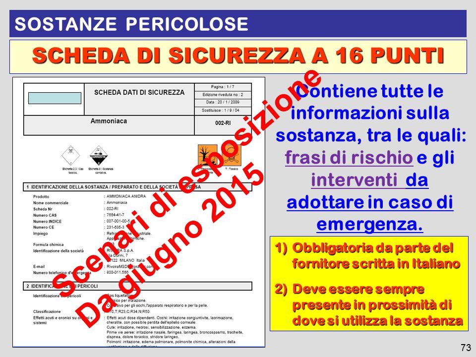1)Obbligatoria da parte del fornitore scritta in Italiano 2)Deve essere sempre presente in prossimità di dove si utilizza la sostanza SCHEDA DI SICURE