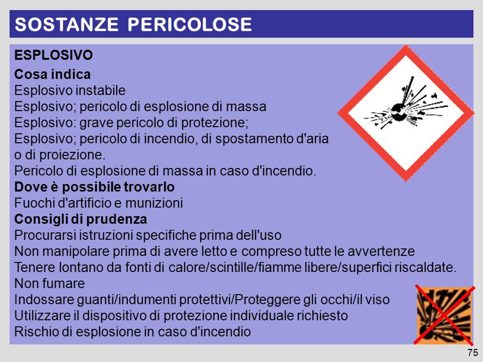 SOSTANZE PERICOLOSE ESPLOSIVO Cosa indica Esplosivo instabile Esplosivo; pericolo di esplosione di massa Esplosivo: grave pericolo di protezione; Esplosivo; pericolo di incendio, di spostamento d aria o di proiezione.