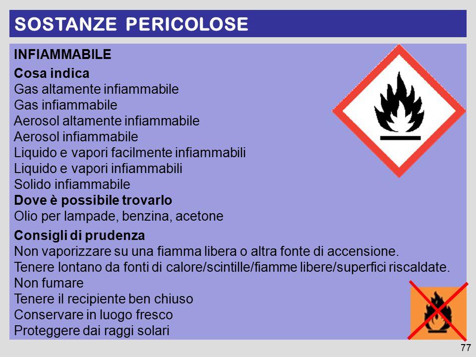 SOSTANZE PERICOLOSE 77 INFIAMMABILE Cosa indica Gas altamente infiammabile Gas infiammabile Aerosol altamente infiammabile Aerosol infiammabile Liquid