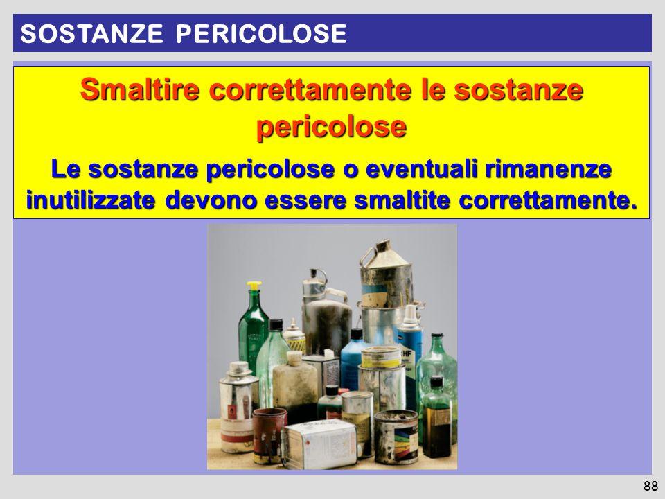 Smaltire correttamente le sostanze pericolose Le sostanze pericolose o eventuali rimanenze inutilizzate devono essere smaltite correttamente. SOSTANZE