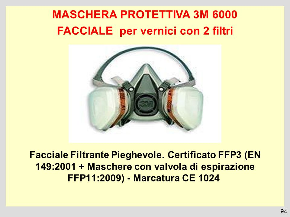 MASCHERA PROTETTIVA 3M 6000 FACCIALE per vernici con 2 filtri Facciale Filtrante Pieghevole. Certificato FFP3 (EN 149:2001 + Maschere con valvola di e