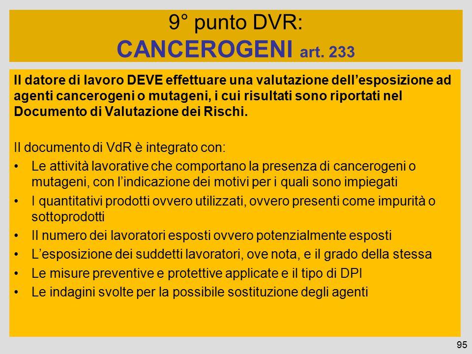 Il datore di lavoro DEVE effettuare una valutazione dell'esposizione ad agenti cancerogeni o mutageni, i cui risultati sono riportati nel Documento di