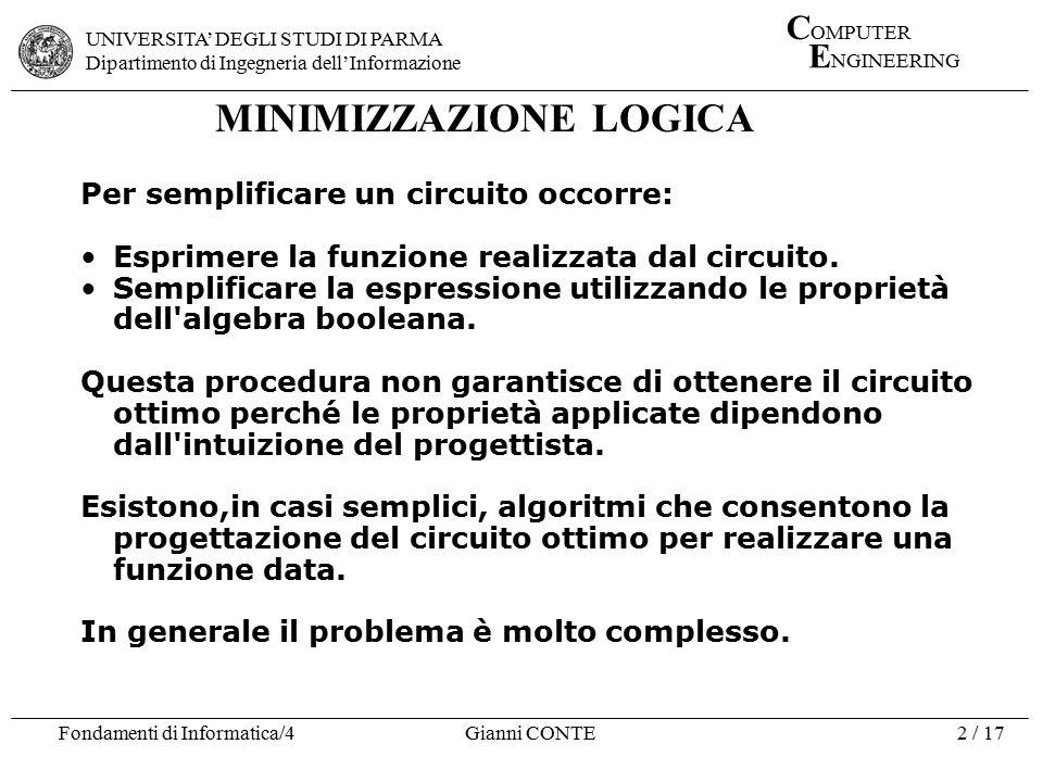 UNIVERSITA' DEGLI STUDI DI PARMA Dipartimento di Ingegneria dell'Informazione Fondamenti di Informatica/4 13 / 17 Gianni CONTE C OMPUTER E NGINEERING ESERCIZIO 1C X1,X2 00 01 11 10 00 01 11 10 X3,X4 0 0 0 0 1 0 d d 1 0 d d Mappa per Z1: Z1=X1X4+X2X3X4 X2 X3 X4 X1 X4 Z1