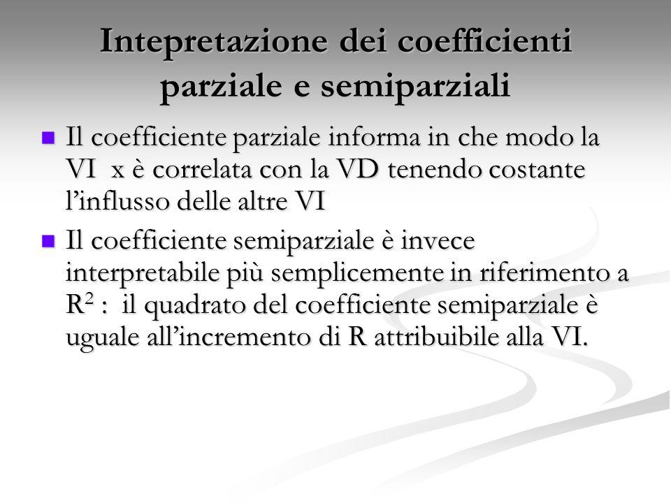 Intepretazione dei coefficienti parziale e semiparziali Il coefficiente parziale informa in che modo la VI x è correlata con la VD tenendo costante l'influsso delle altre VI Il coefficiente parziale informa in che modo la VI x è correlata con la VD tenendo costante l'influsso delle altre VI Il coefficiente semiparziale è invece interpretabile più semplicemente in riferimento a R 2 : il quadrato del coefficiente semiparziale è uguale all'incremento di R attribuibile alla VI.