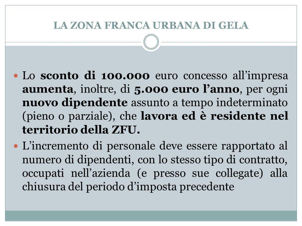 LA ZONA FRANCA URBANA DI GELA Lo sconto di 100.000 euro concesso all'impresa aumenta, inoltre, di 5.000 euro l'anno, per ogni nuovo dipendente assunto
